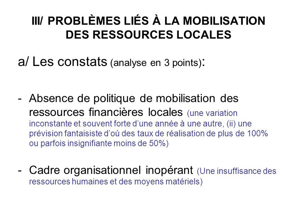 III/ PROBLÈMES LIÉS À LA MOBILISATION DES RESSOURCES LOCALES