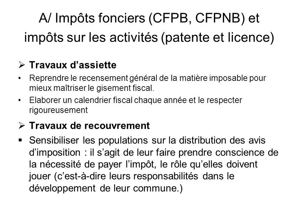 A/ Impôts fonciers (CFPB, CFPNB) et impôts sur les activités (patente et licence)