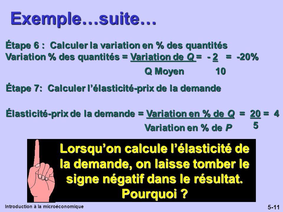 Exemple…suite… Étape 6 : Calculer la variation en % des quantités. Variation % des quantités = Variation de Q = - 2 = -20%
