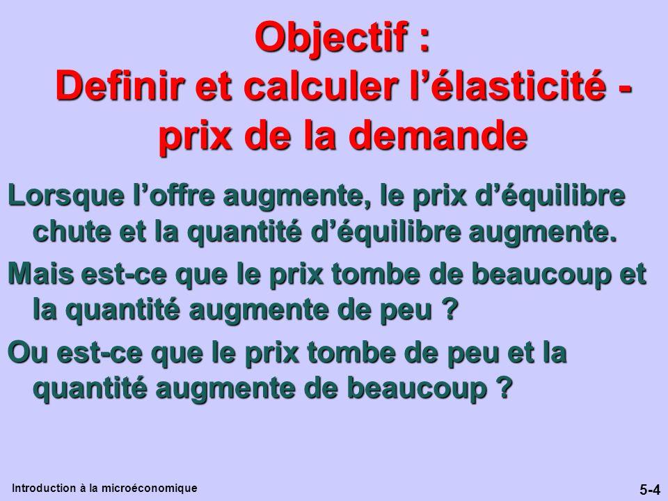 Objectif : Definir et calculer l'élasticité -prix de la demande