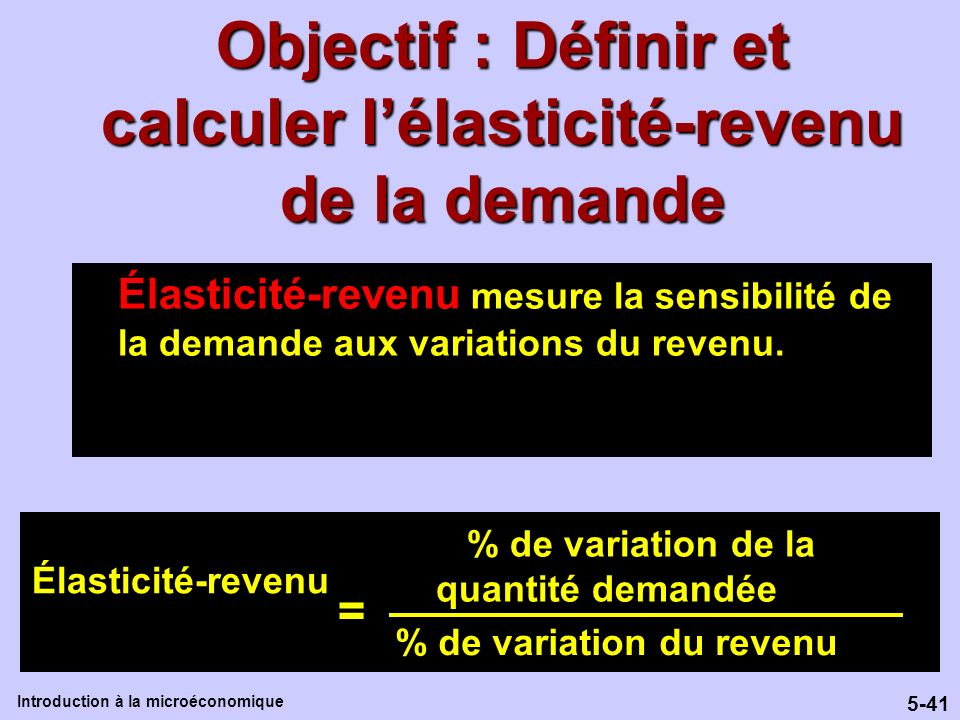 Objectif : Définir et calculer l'élasticité-revenu de la demande