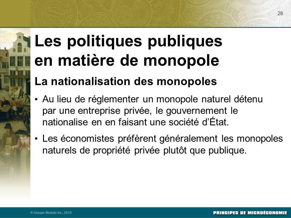 Les politiques publiques en matière de monopole