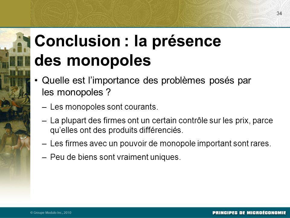 Conclusion : la présence des monopoles