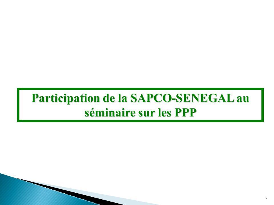 Participation de la SAPCO-SENEGAL au séminaire sur les PPP