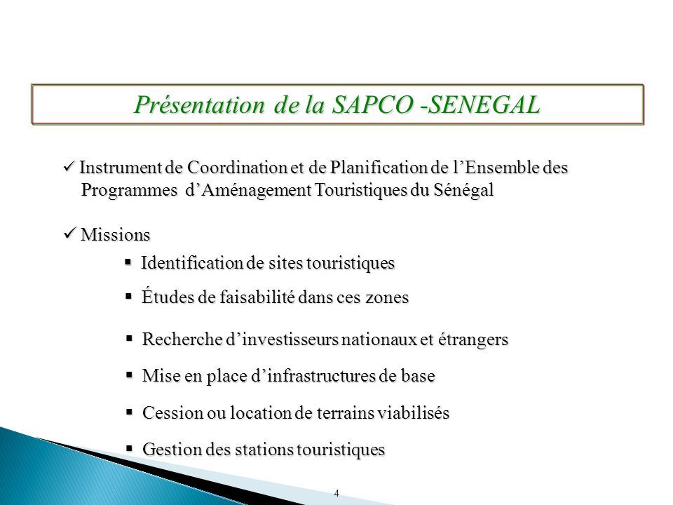 Présentation de la SAPCO -SENEGAL