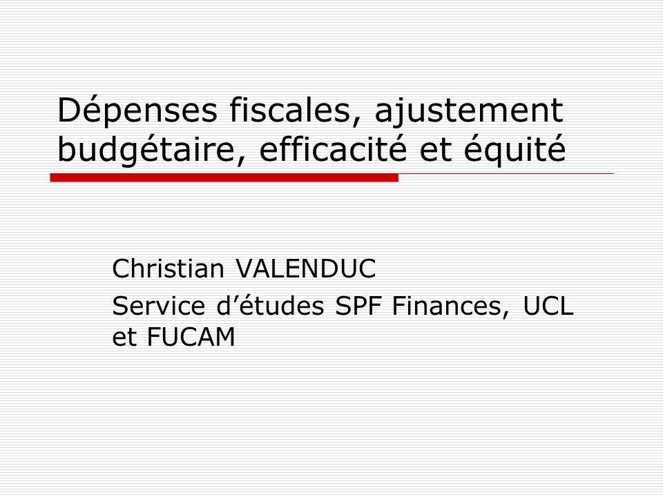 Dépenses fiscales, ajustement budgétaire, efficacité et équité