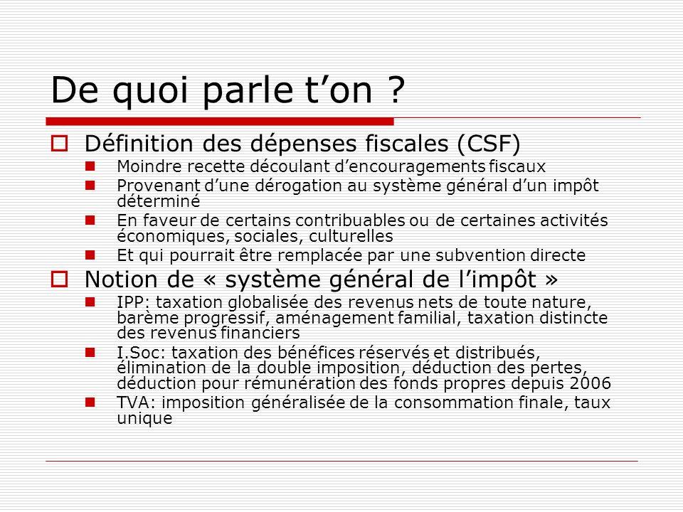 De quoi parle t'on Définition des dépenses fiscales (CSF)