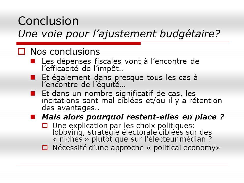 Conclusion Une voie pour l'ajustement budgétaire