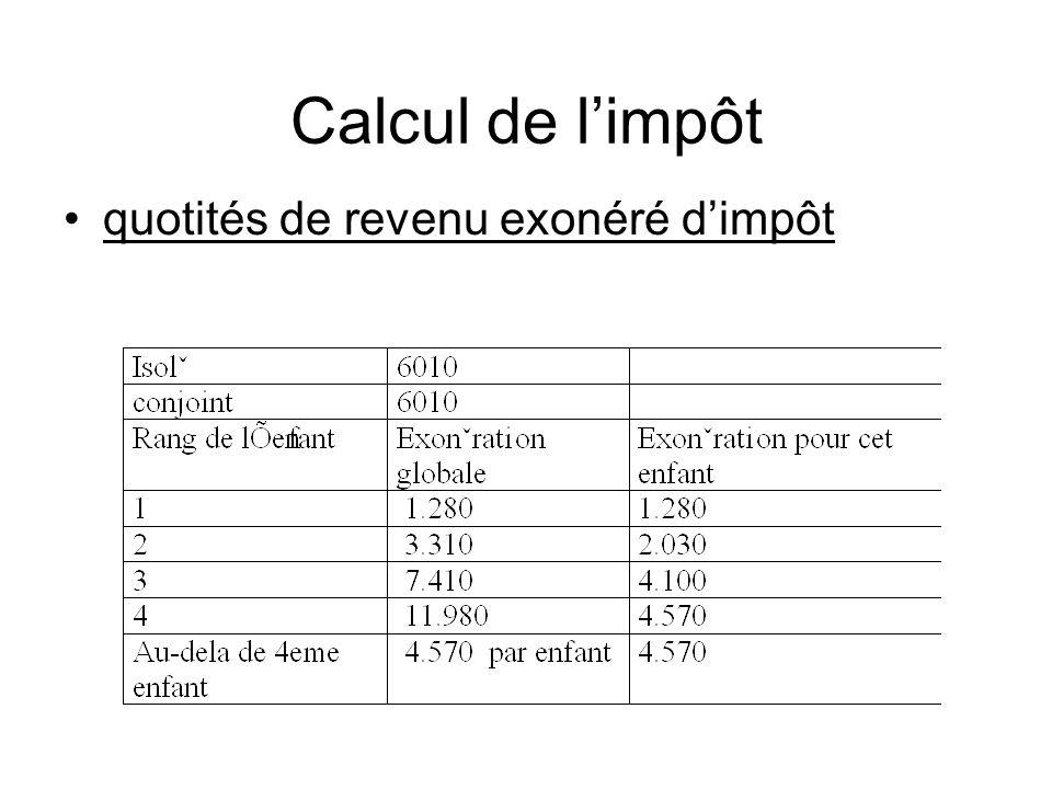 Calcul de l'impôt quotités de revenu exonéré d'impôt