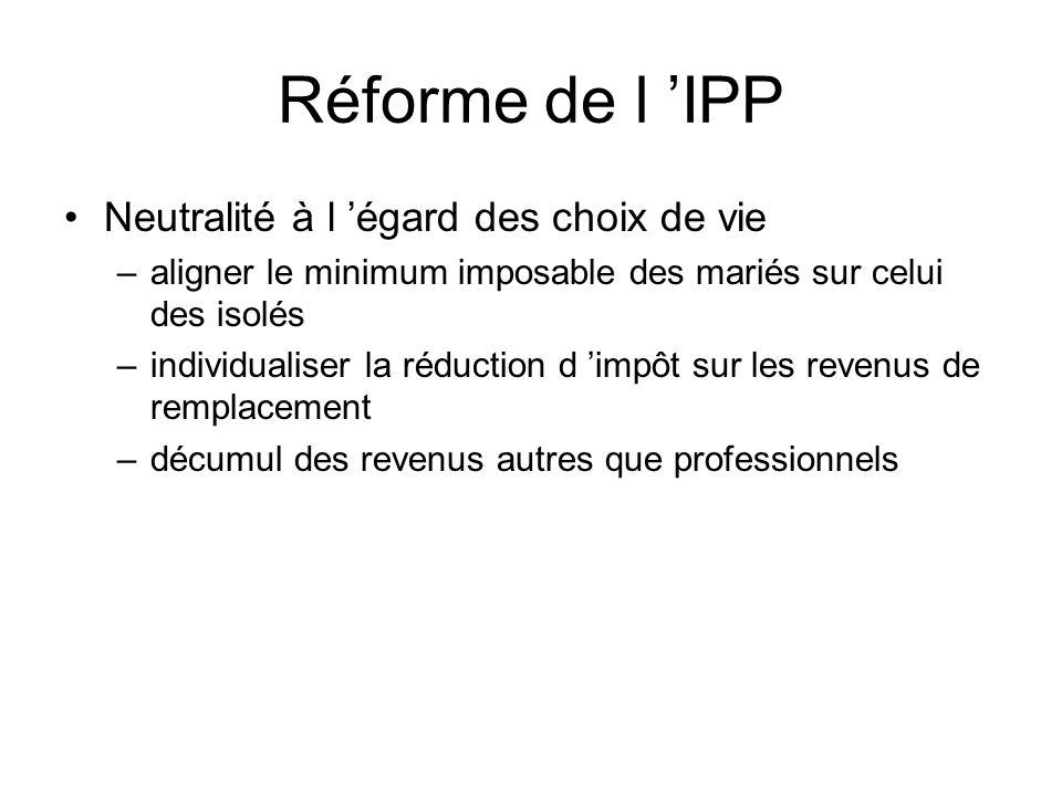 Réforme de l 'IPP Neutralité à l 'égard des choix de vie