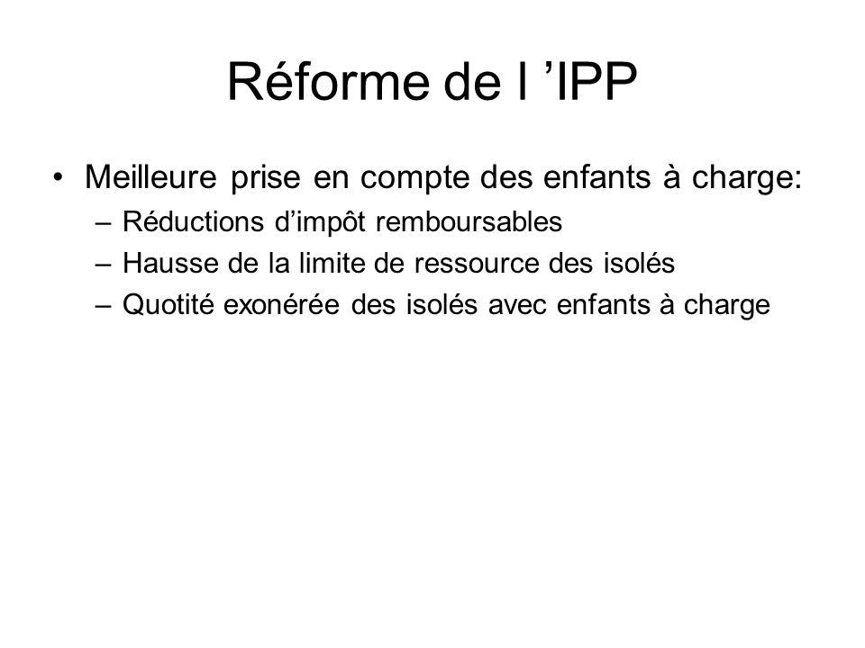 Réforme de l 'IPP Meilleure prise en compte des enfants à charge: