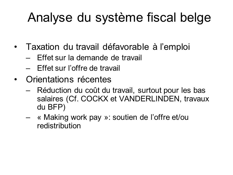 Analyse du système fiscal belge