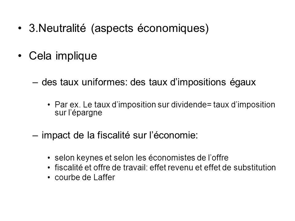 3.Neutralité (aspects économiques) Cela implique