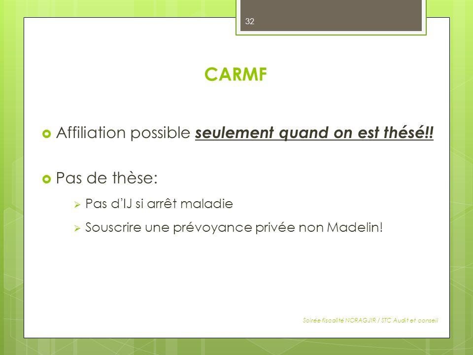 CARMF Affiliation possible seulement quand on est thésé!!