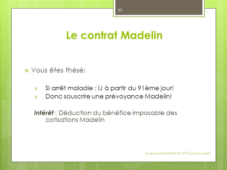 Le contrat Madelin Vous êtes thésé: