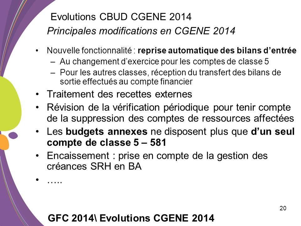 Principales modifications en CGENE 2014