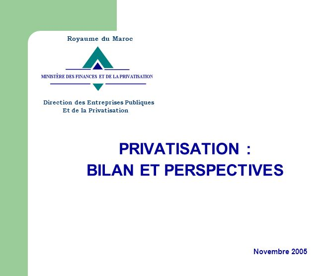 PRIVATISATION : BILAN ET PERSPECTIVES