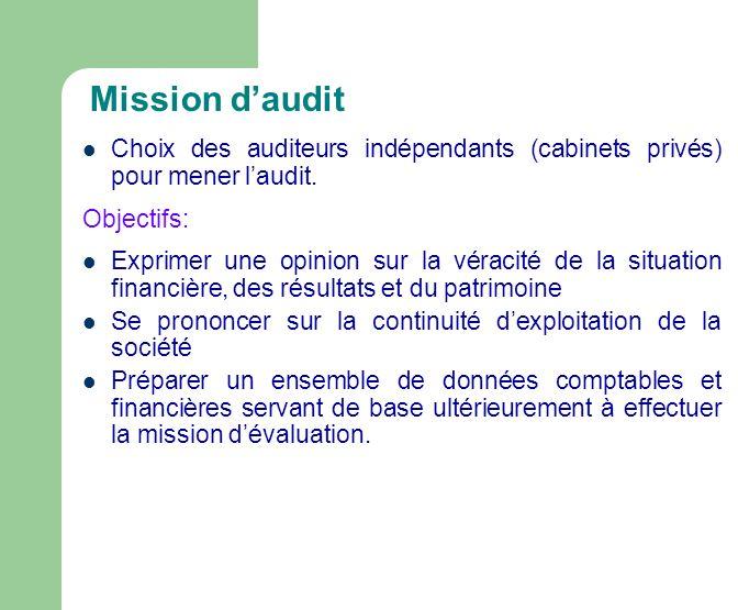Mission d'audit Choix des auditeurs indépendants (cabinets privés) pour mener l'audit. Objectifs: