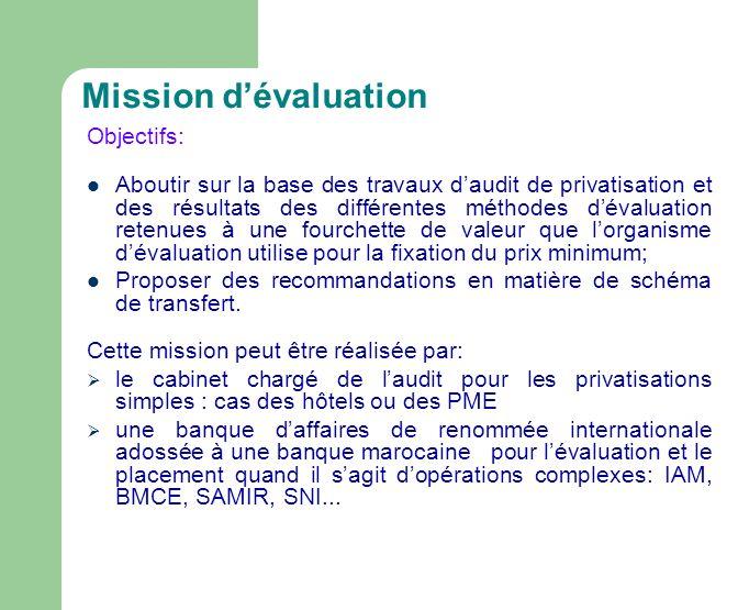 Mission d'évaluation Objectifs: