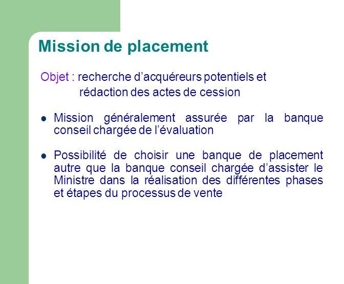 Mission de placement Objet : recherche d'acquéreurs potentiels et