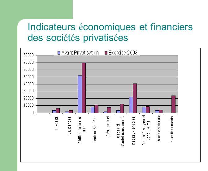 Indicateurs économiques et financiers des sociétés privatisées
