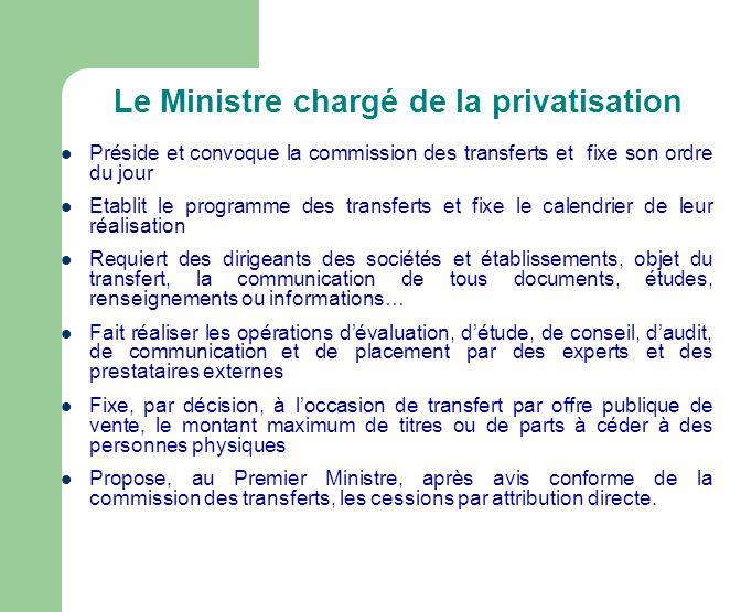 Le Ministre chargé de la privatisation