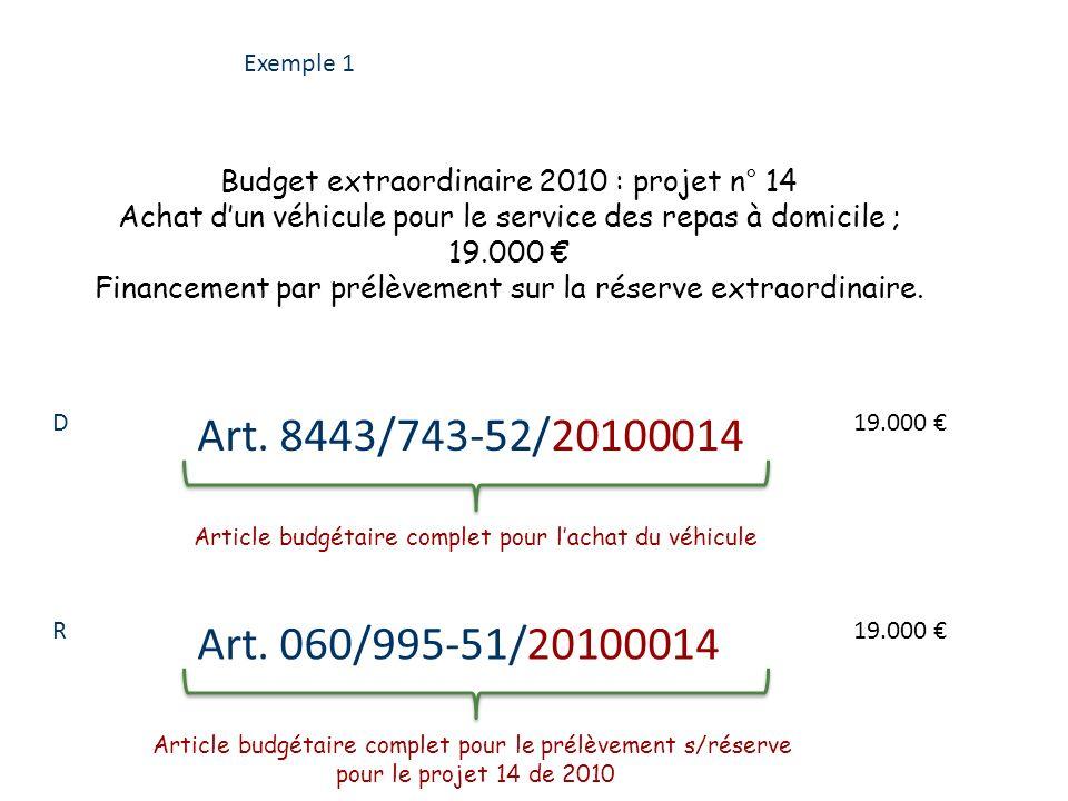 Exemple 1 Budget extraordinaire 2010 : projet n° 14. Achat d'un véhicule pour le service des repas à domicile ;