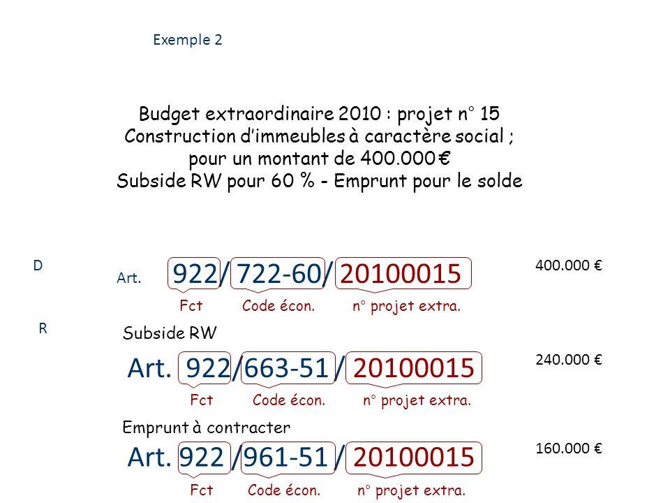Exemple 2 Budget extraordinaire 2010 : projet n° 15. Construction d'immeubles à caractère social ;