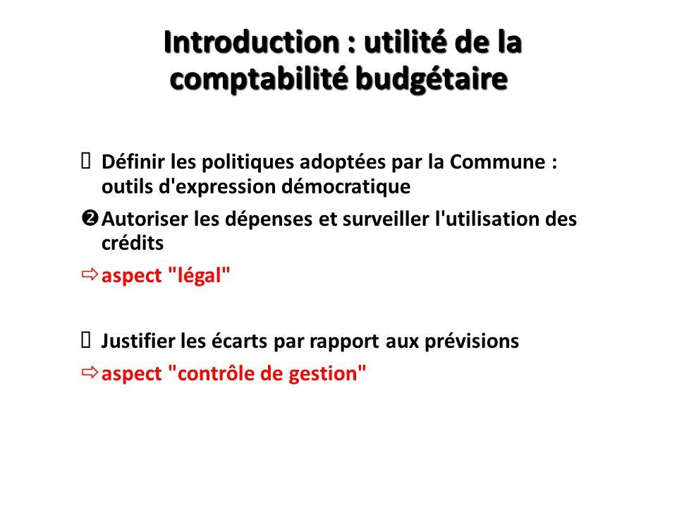 Introduction : utilité de la comptabilité budgétaire