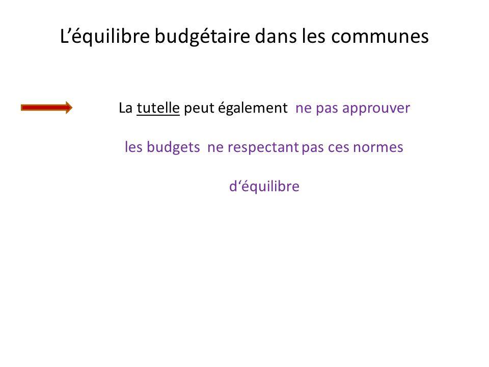 L'équilibre budgétaire dans les communes