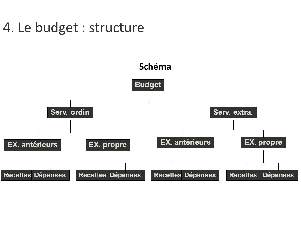 4. Le budget : structure Schéma Budget Serv. ordin Serv. extra. Budget