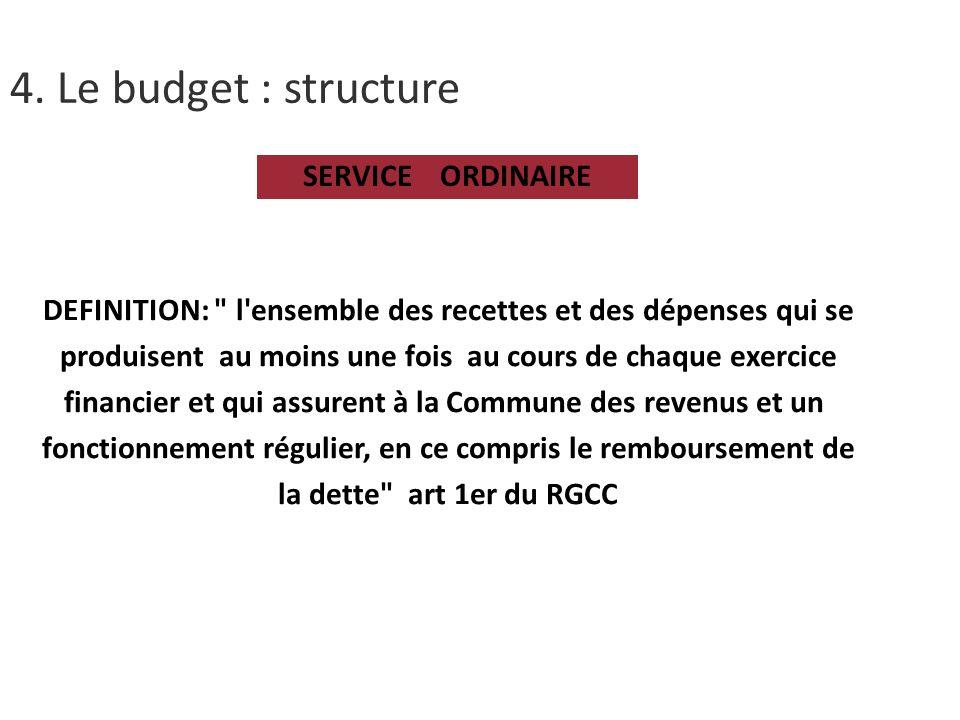 4. Le budget : structure SERVICE ORDINAIRE