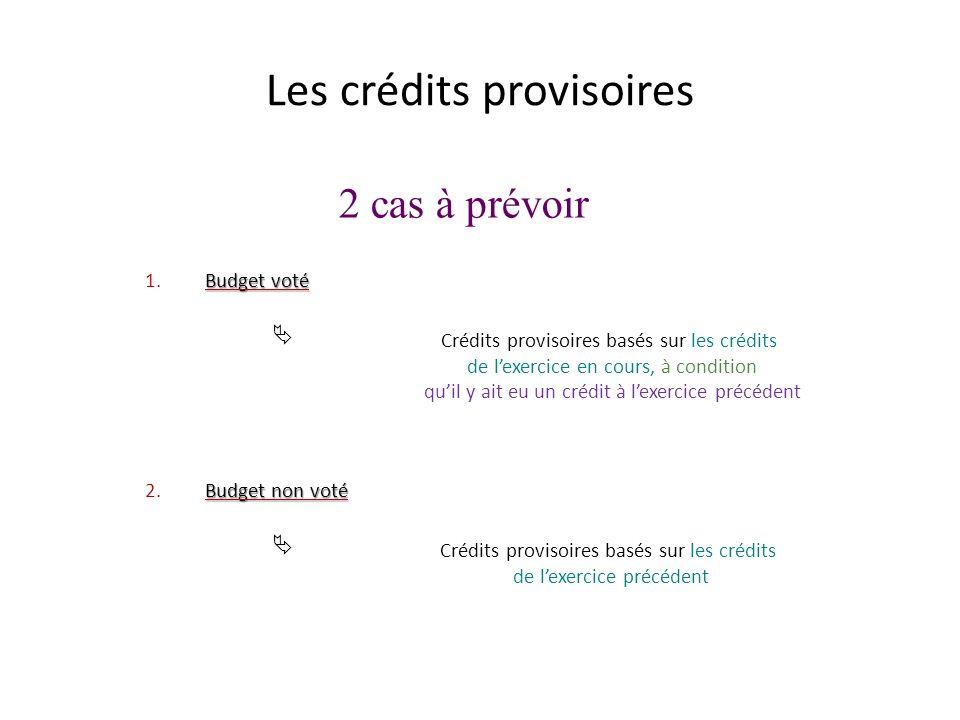 Les crédits provisoires