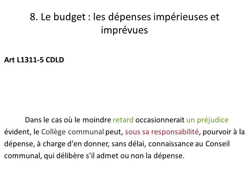 8. Le budget : les dépenses impérieuses et imprévues