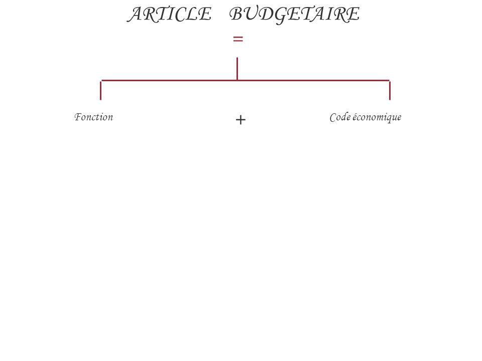 ARTICLE BUDGETAIRE = Fonction + Code économique 4 168