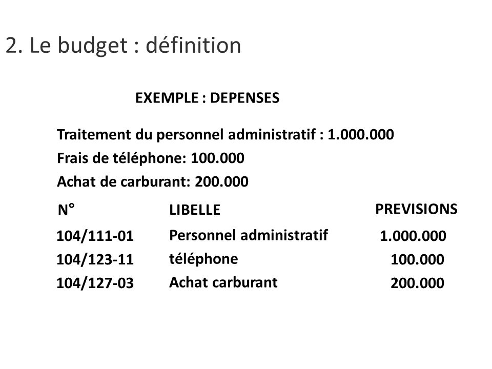 2. Le budget : définition EXEMPLE : DEPENSES