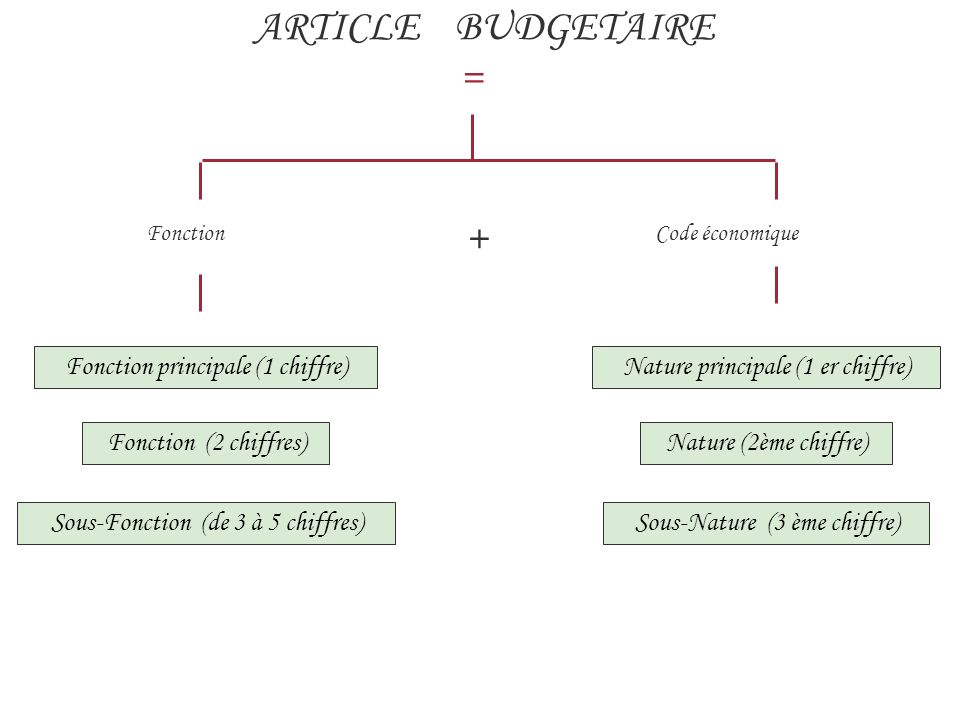 ARTICLE BUDGETAIRE = + Fonction principale (1 chiffre)