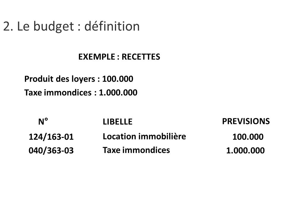 2. Le budget : définition EXEMPLE : RECETTES