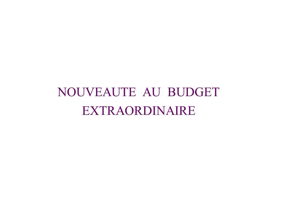 NOUVEAUTE AU BUDGET EXTRAORDINAIRE
