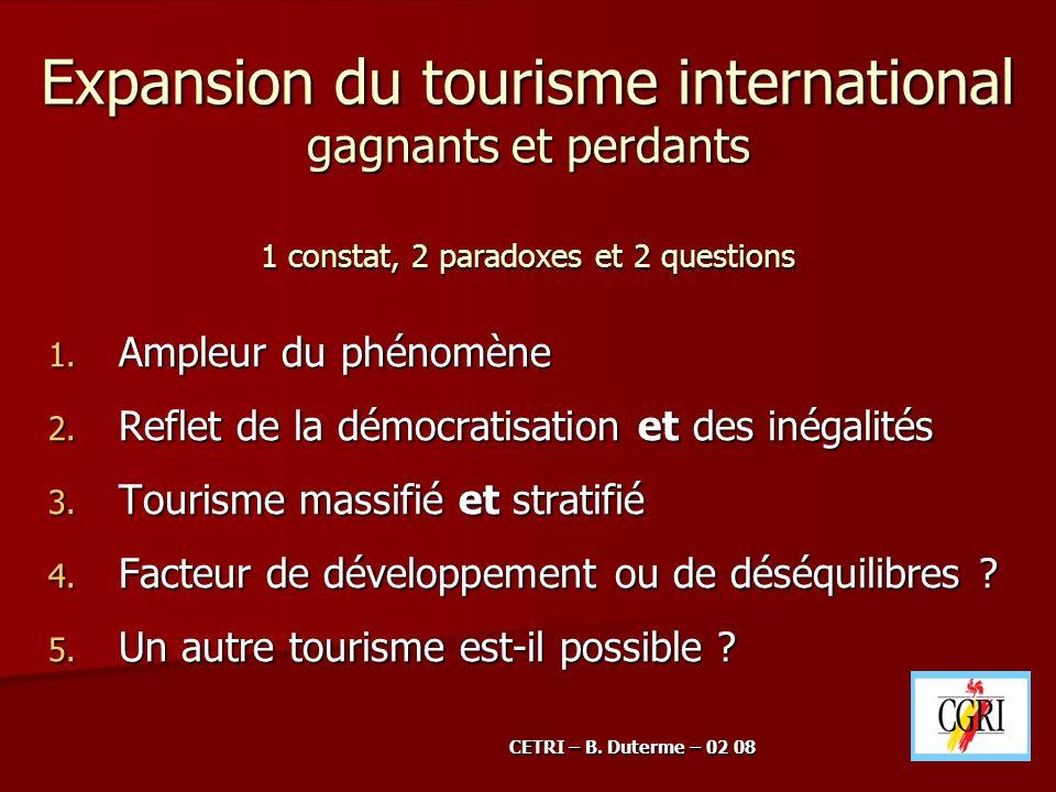 Expansion du tourisme international gagnants et perdants 1 constat, 2 paradoxes et 2 questions