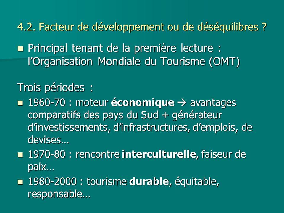 4.2. Facteur de développement ou de déséquilibres