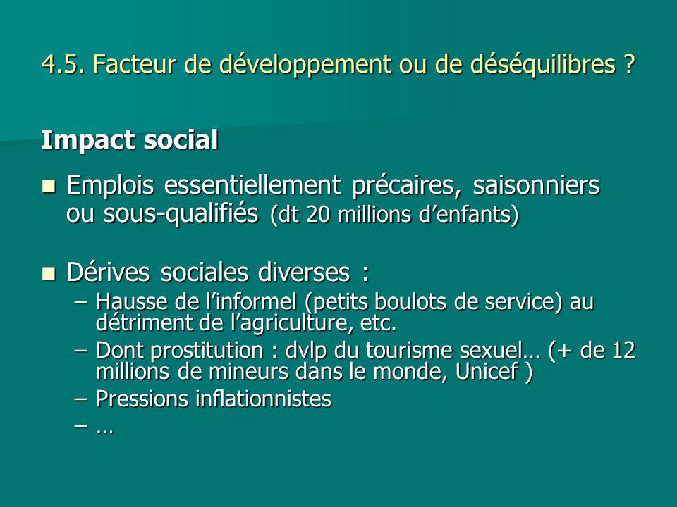 4.5. Facteur de développement ou de déséquilibres