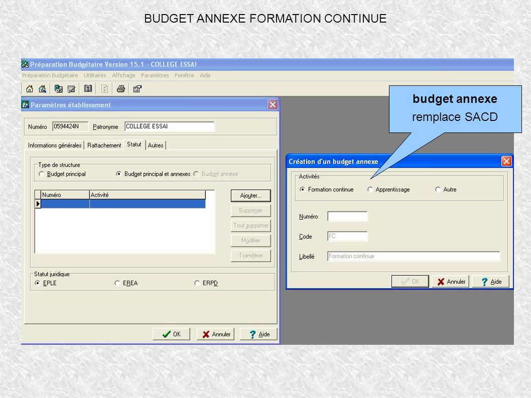 BUDGET ANNEXE FORMATION CONTINUE