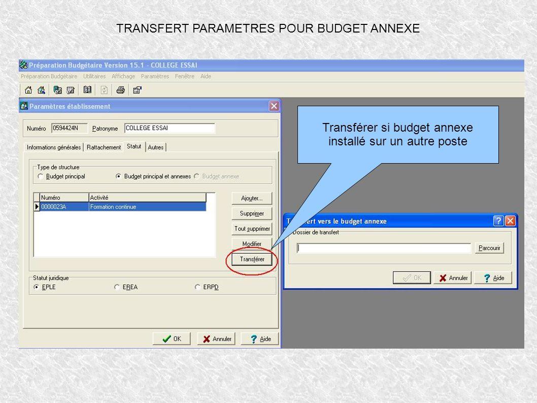 TRANSFERT PARAMETRES POUR BUDGET ANNEXE