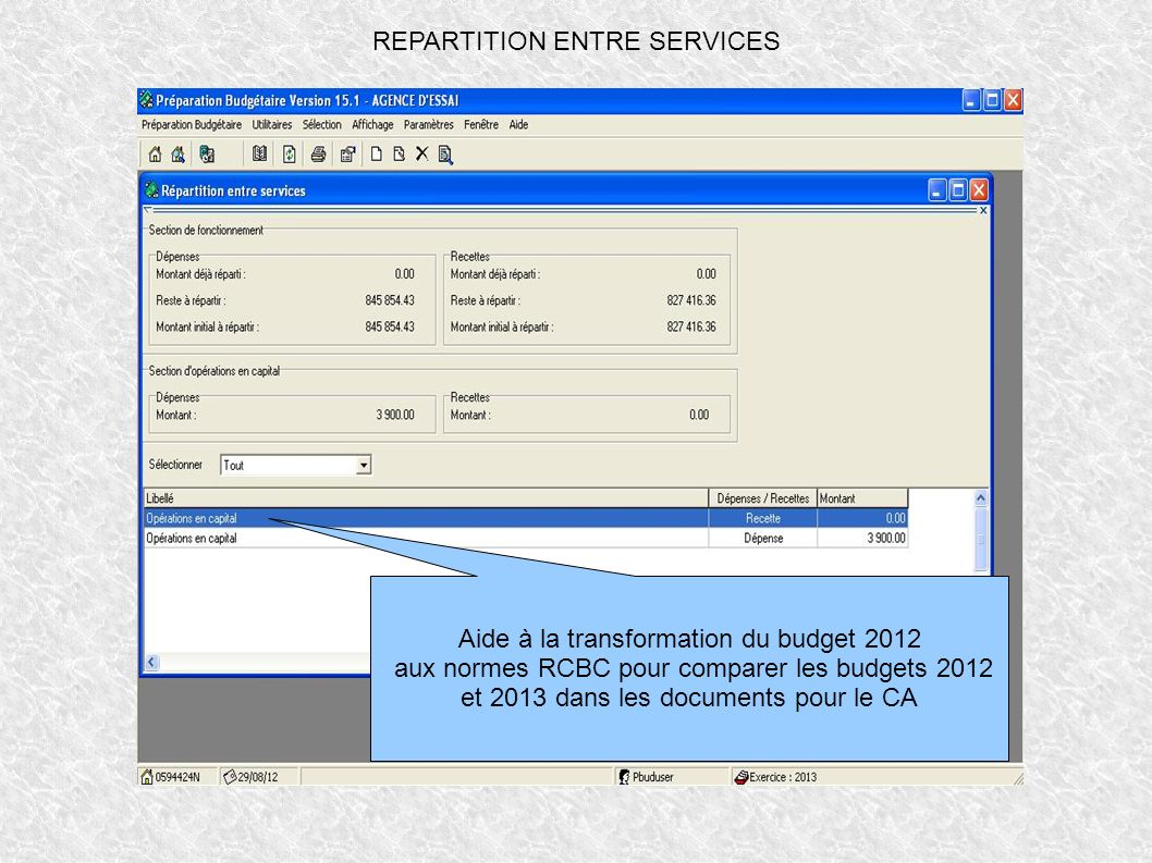 REPARTITION ENTRE SERVICES