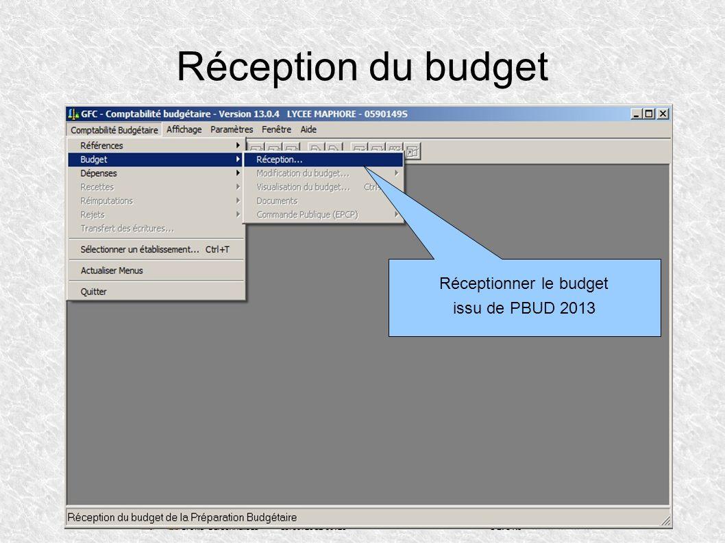 Réceptionner le budget