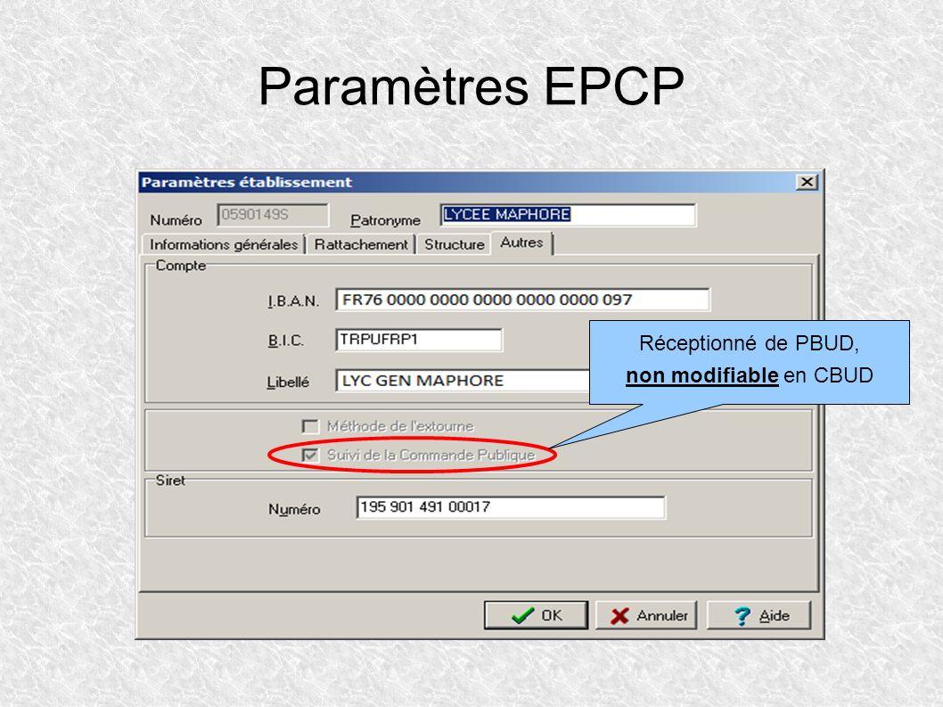 Paramètres EPCP Réceptionné de PBUD, non modifiable en CBUD