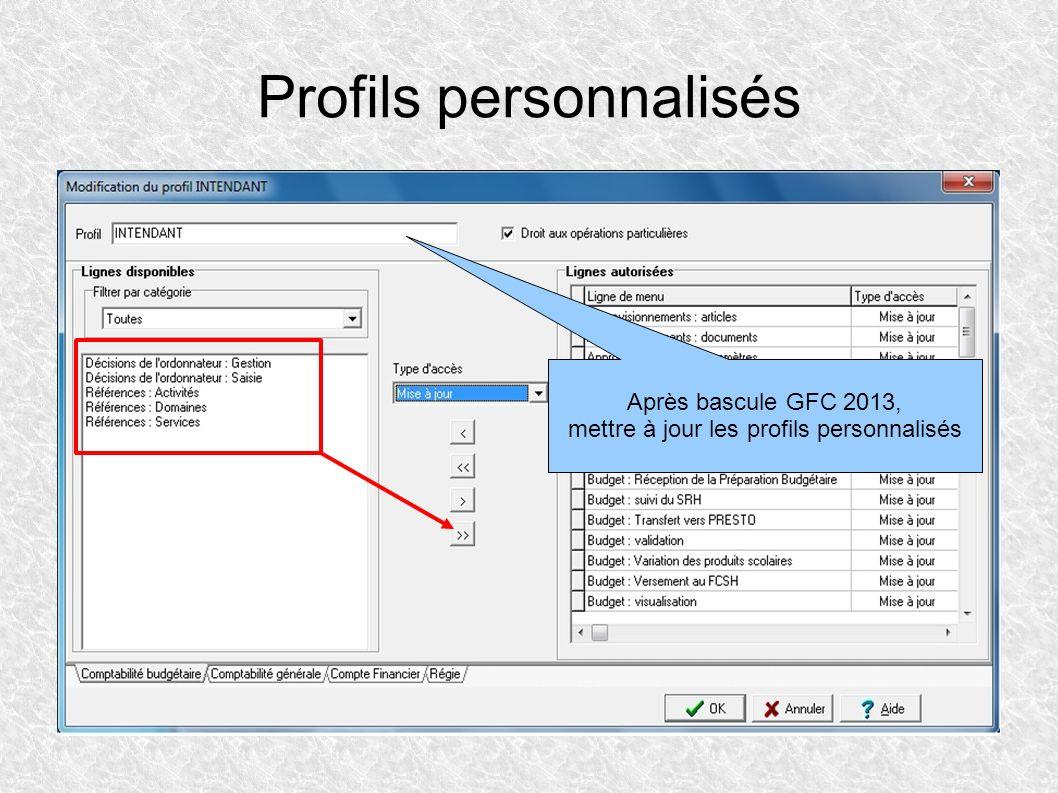 Profils personnalisés