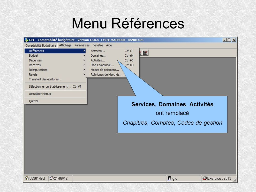 Menu Références Services, Domaines, Activités ont remplacé