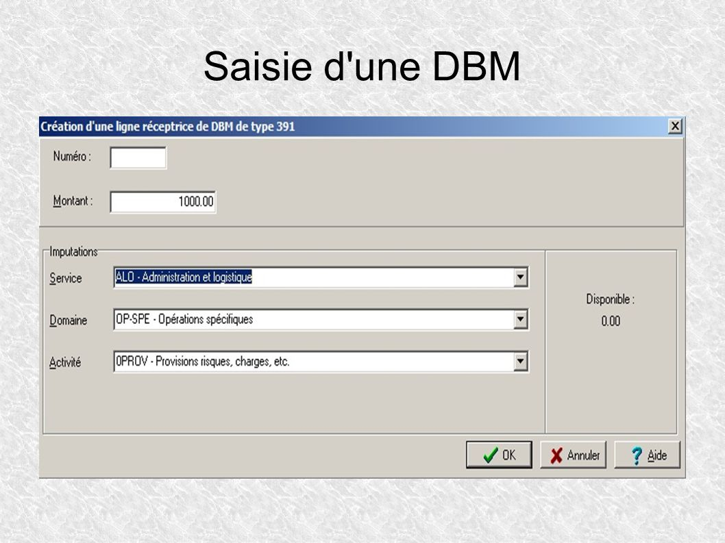 Saisie d une DBM